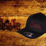 Black Curved bill fitted hat w red outline logo