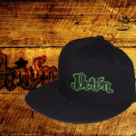 Black fitted flat bills w/ green outlined logo