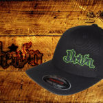 Black Curved bill fitted hat w green outline logo