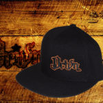Black fitted flat bills w/ orange outlined logo