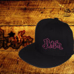 Black fitted flat bills w/ pink outlined logo