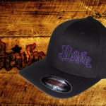 Black Curved bill fitted hat w purple outline logo