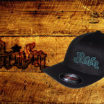 Black Curved bill fitted hat w teal outline logo