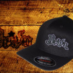 Black Curved bill fitted hat w white outline logo
