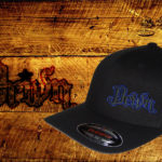 Black Curved bill fitted hat w blue outline logo