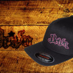 Black Curved bill fitted hat w pink outline logo