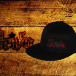 Black fitted flat bills w/ red outlined logo