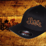 Black Curved bill fitted hat w orange outline logo