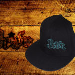 Black fitted flat bills w/ teal outlined logo